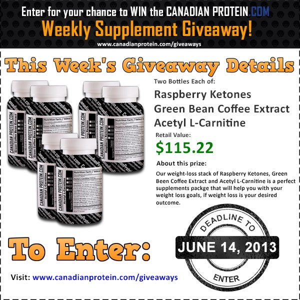 June 14, 2013 Giveaway: Summer Weight Loss Stack! http://www.canadianprotein.com/giveaways