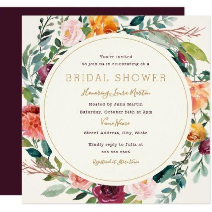 Burgundy Gold Wreath Floral Bridal Shower Card - burgundy style stylish cyo diy customize