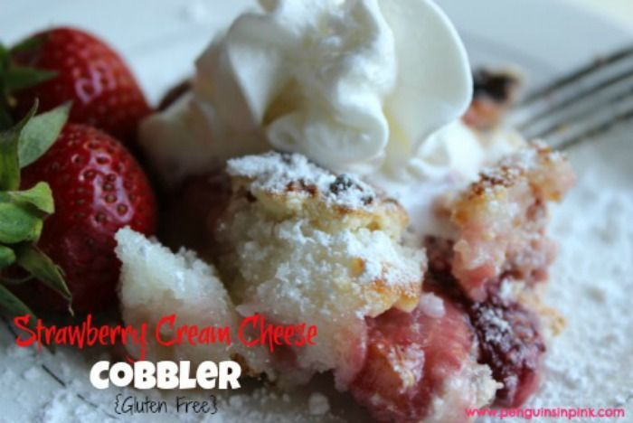 Strawberry Cream Cheese Cobbler {Gluten Free} - Sweet strawberries and smooth cream cheese mix enveloped with a flaky crust. Strawberry cream cheese cobbler is perfect for brunches, afternoon teas, or wedding and baby showers. #glutenfree #strawberries #recipe