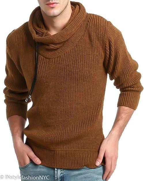 Mens Dark Gray Shawl Turtleneck Sweater Instyle Fashion Sweaters