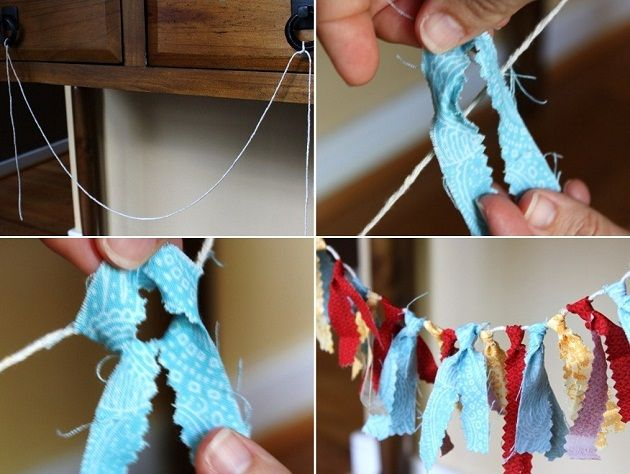 Look at this cute fabric swag... what a cheap and easy party decoration! Celebrationsathomeblog.com