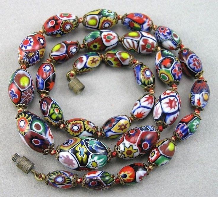 Vintage Art Deco Moretti Venetian Murano Millefiori Glass Beads Necklace…