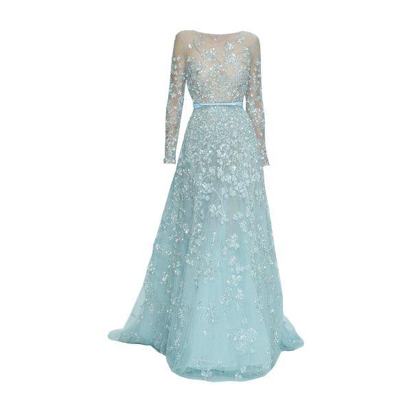 elie saab -Editado por dehti ❤ liked on Polyvore featuring dresses, gowns, vestidos, long dresses, blue evening gown, long blue dress, blue dress y elie saab dresses