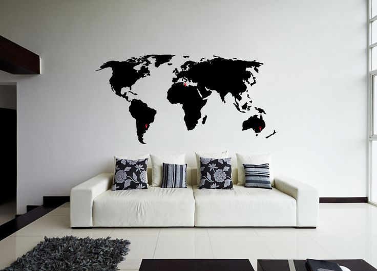 world map wall sticker design map of countries wall decal wall travel decor - Wall Stickers Designs