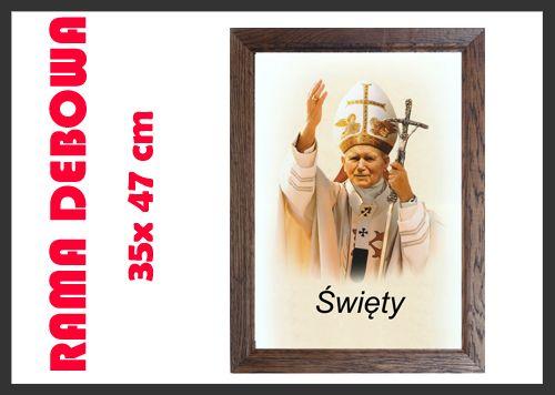 Piękny #obraz #Jana #Pawła II w dębowej ramie. Do kupienia na allegro. Rak-bis.