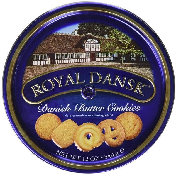 Royal Dansk Danish Butter Cookies, 12 oz. Tin ($18) ❤ liked on Polyvore featuring home, kitchen & dining, food storage containers, tin food storage containers and dansk