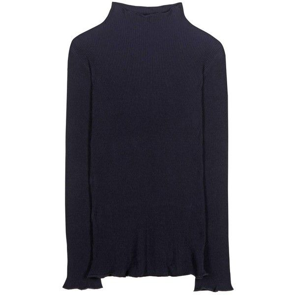 The Row Dita Virgin Wool Sweater (71,950 PHP) ❤ liked on Polyvore featuring tops, sweaters, blue, blue top, blue sweater and the row sweater