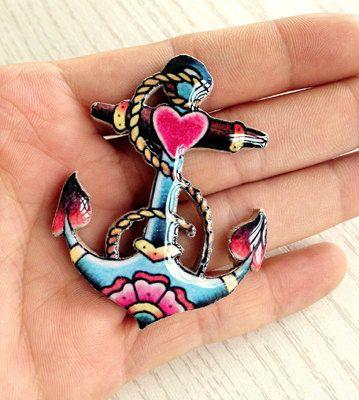 anchor tattoo brooch