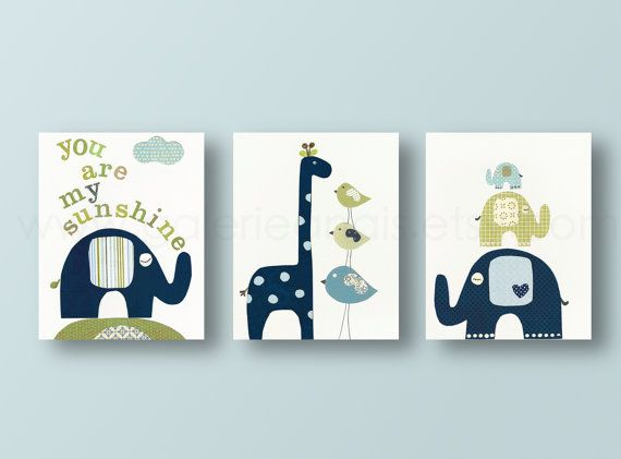 Nursery print, childrens art print, kids room decor, nursery wall art, elephant, birds, giraffe, Set of 3, 8x10 prints You are My Sunshine