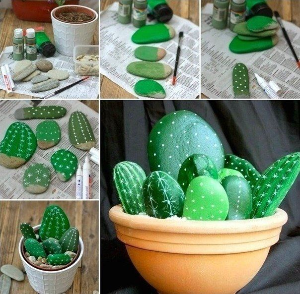 Ideas and Decor - rocks painted like cactus