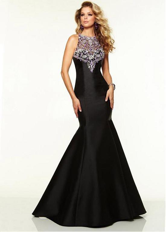 Black strapless woven satin net beaded floor length evening dress