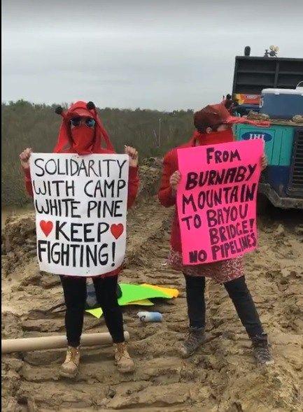 'Crawfish the Musical' Stopping construction along #BBP pipeline route. #NoBayouBridge #StopETP #ProtectWhatYouLove L'eau Est La Vie Camp – No Bayou Bridge was live.