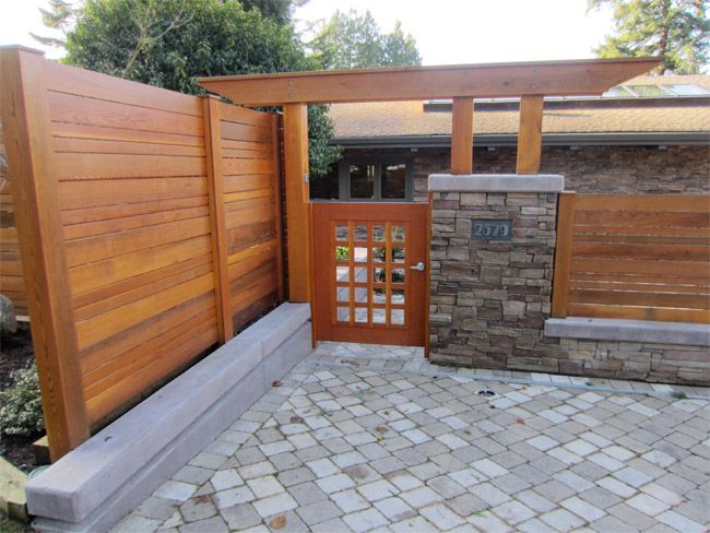 Custom Contemporary Cedar Arch Gate And Fencing Garden
