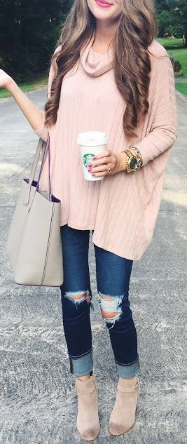 Blush Oversized Sweater Fall Inspo by Southern Curls and pearls