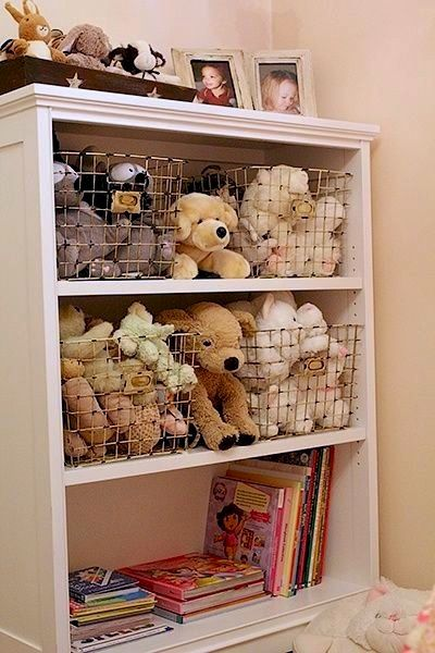 kids room stuffed animal display and storage ideas with bookcase wire baskets