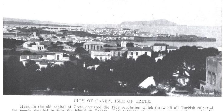 """City of Canea, Isle of Crete. From a 1909 article """"A Trip though Greece."""" (Ebay)"""
