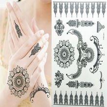 Красоты боди-арт временные татуировки черный флэш-тату рука наклейки индийская хной водонепроницаемый курьезы браслеты для женщин(China (Mainland))