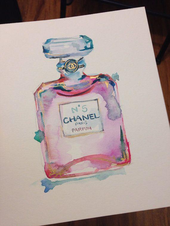 ORIGINAL Chanel Perfume No.5 Watercolor Painting with Gold - Chanel Art, Fashion Art, Fashion Watercolor, Fashion Illustration