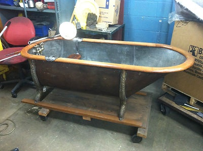 Rare Antique Pullman Car Train Copper Bathtub Bath Tub Wood Loft