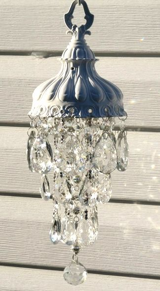 Chandelier crystal garden art sun catcher wind chime Dishfunctional Designs: The Upcycled Garden Volume 7: Using Recycled Salvaged Materials In Your Garden