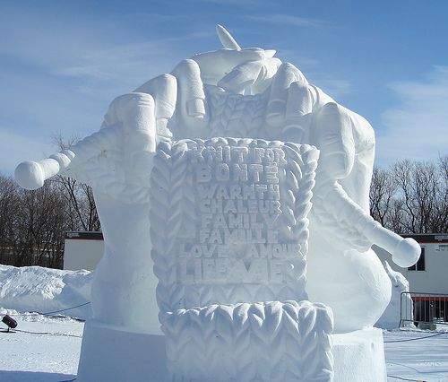 snow sculpture, 'Knitting Family Poems' created for Ottawa Winterlude Snow Sculpture Comp 2007 by Brian McArthur, Dawn Detarando and Will Truchon - it won the People's Choice Award