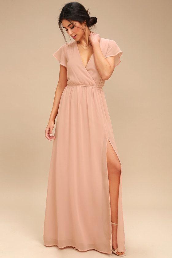 1c81f94d78f Elegant Blush Maxi Dress - Short Sleeve Maxi Dress