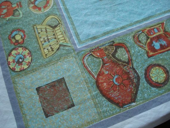 Vintage 1950s MidCentury Tablecloth Rectangle 2013359