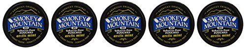Smokey Mountain Snuff, 5 Cans - Arctic Mint POUCH - Tobacco Free, Nicotine Free - 20 pouches per can  Non-tobacco, herbal chew  Safe to eat, safe to swallow  Non-addictive, healthy alternative to chewing tobacco and cigarettes  Available in several flavors