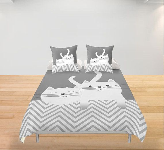 Cats Duvet Cover Kittens Personalized Twin Full King Queen Cute Bedding Kitty Bedroom Decor Gift Women Kids Children Toddler Birthday