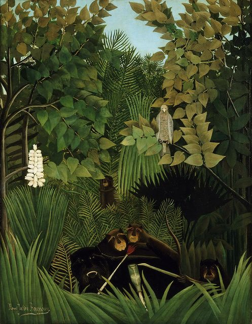 gandalf1202: Henri Rousseau - Merry Jesters [1906] on Flickr.In this extraordinarily rich painting by Henri Rousseau, a group of bearded monkeys and a tropical bird look out intently at the viewer, as if a sudden noise has disturbed their play.