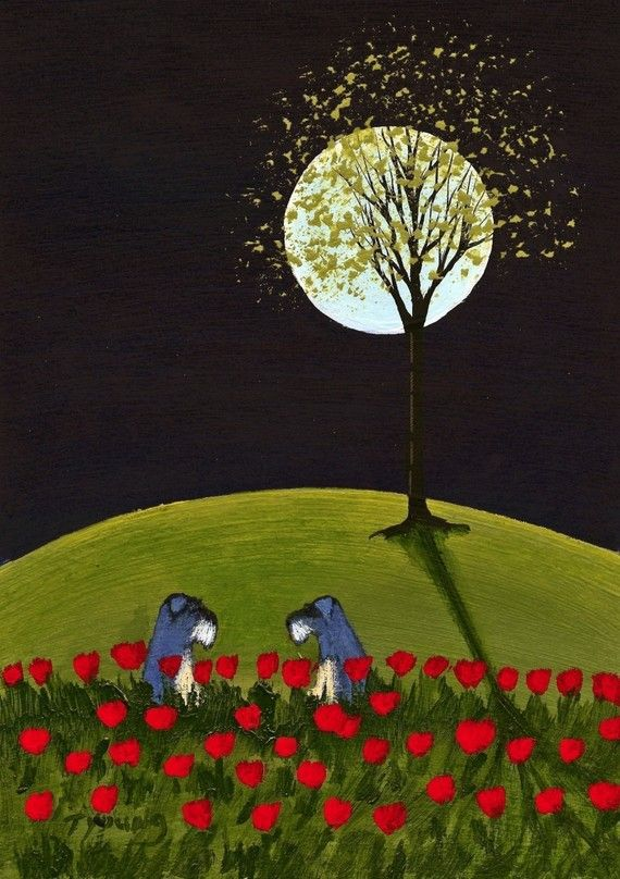 Tulips Schnauzer dog folk art print by Todd Young $12.00
