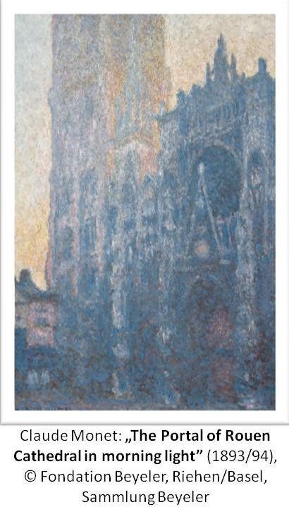 """Noch bis 28.Juni 2015 in Frankfurt - Städelmuseum im Original zu sehen.  Claude Monet: """"The Portal of Rouen Cathedral in morning light"""", 1893/94; © Fondation Beyeler, Riehen/Basel, Sammlung Beyeler"""