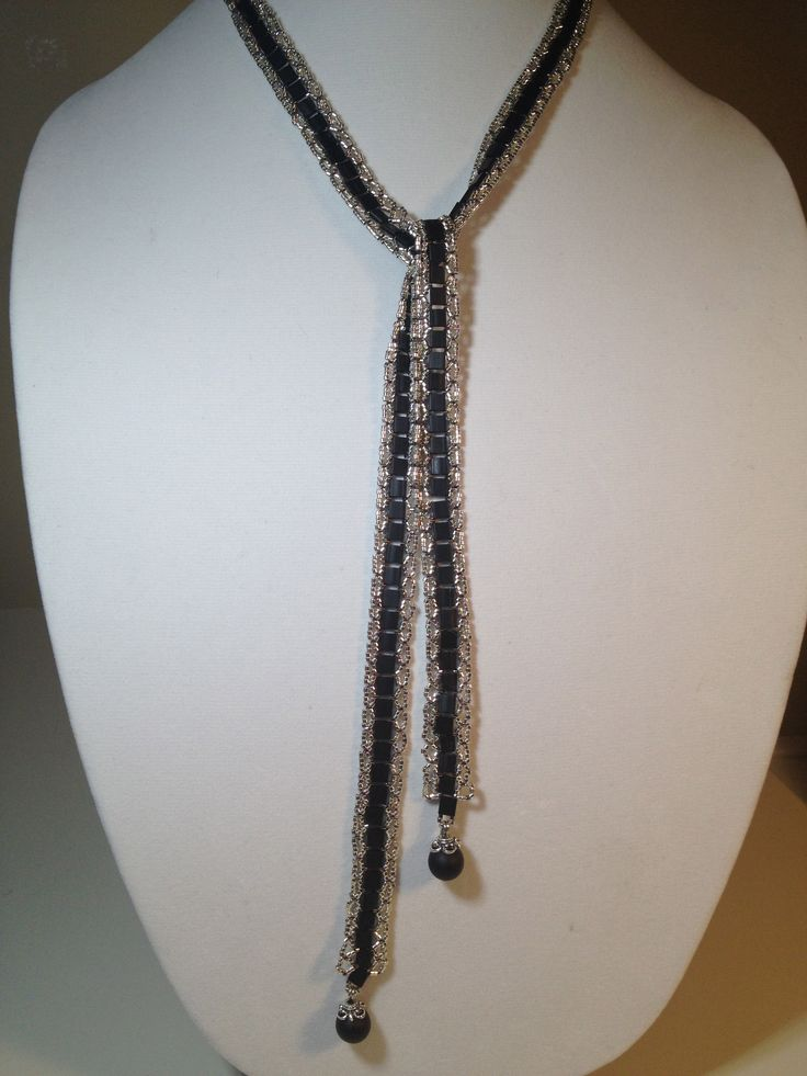 Scarf Necklace using black tila beads.  Selling for $60 manoncreativemoments@gmail.com