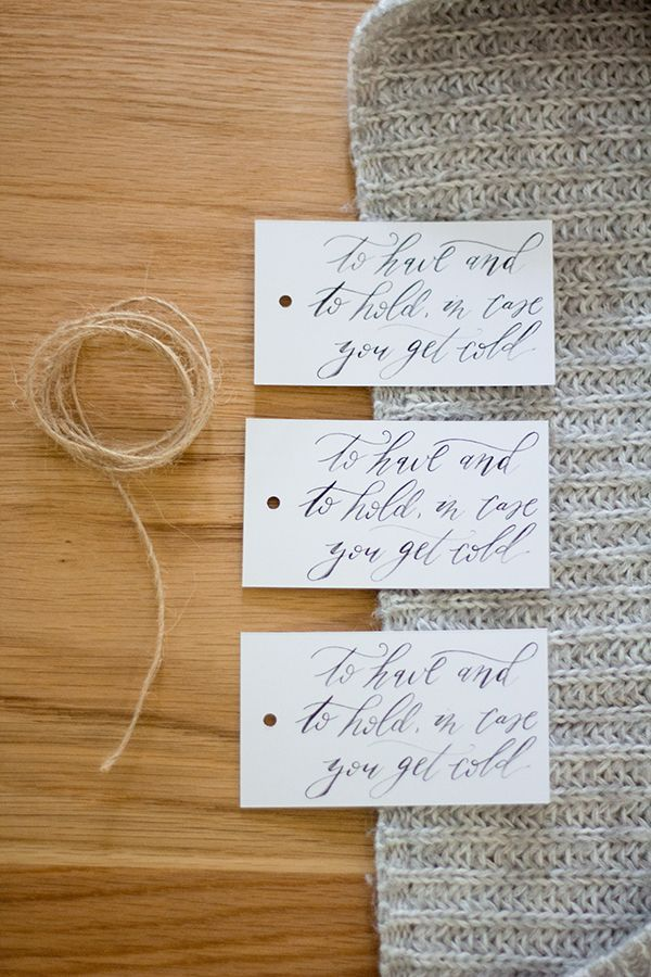 Free printable: cozily calligraphed tags and signage for winter wedding blankets