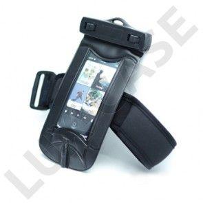 Vandtæt Armbånd til mobiltelefon med vandtætte høretelefoner (Sort)