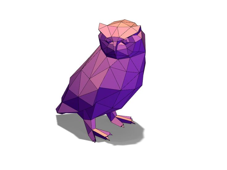Lowpoly owl - a 3D model created with VECTARY - the free online 3D modeling tool #3Dprinting