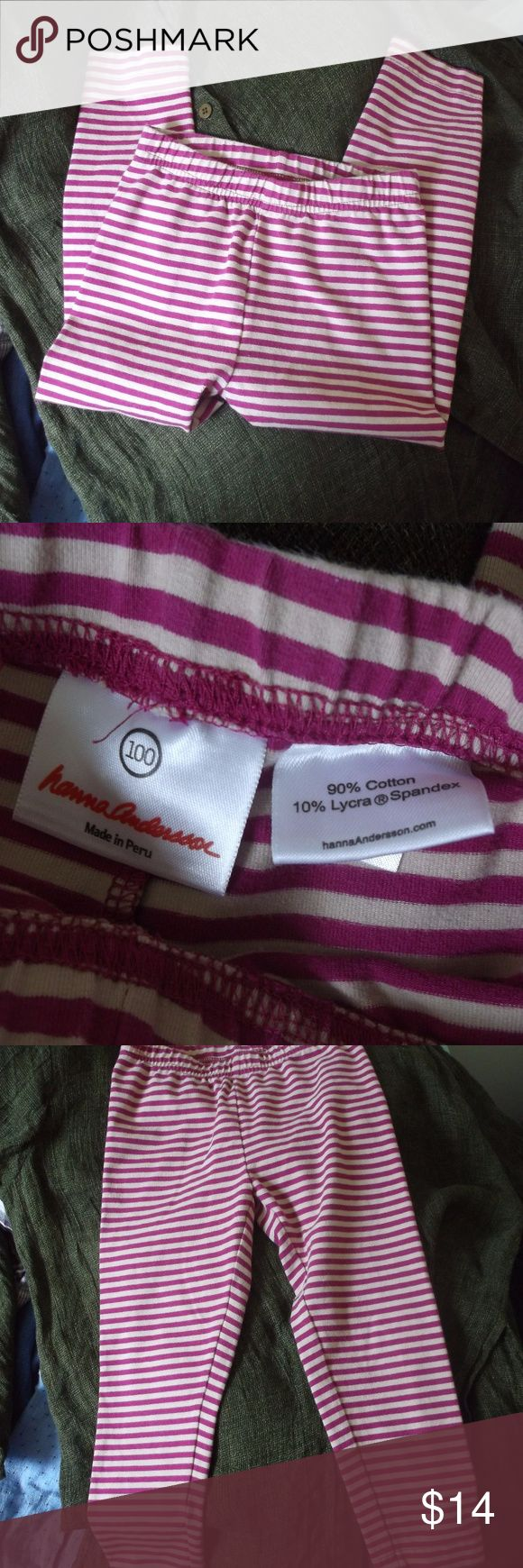 Hanna Andersson Purple Stripe Legging Pant 100 This is a pair of girls leggings pants by Hanna Andersson in a size 100 or 4T Great under skirts and dresses for cool weather! Cotton lycra spandex knit fabric Pull on style Stripes of beige and plum purple In excellent used condition Hanna Andersson Bottoms Casual