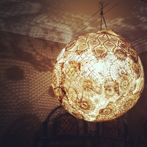17 Best images about Doily lamp on Pinterest