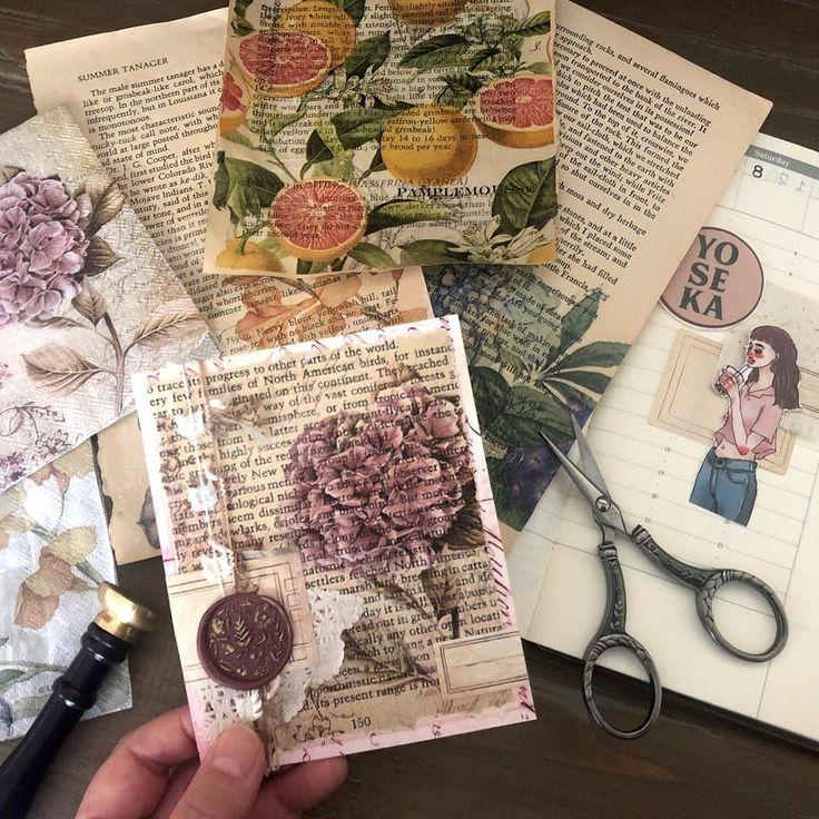 traditional Polish design scrapbooking Napkin decoupage Junk journal art journal