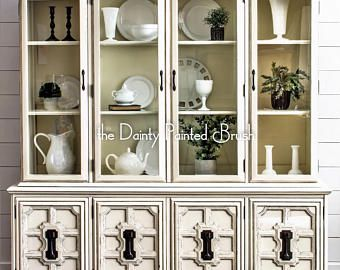 SOLD EXAMPLE..Antique White China Cabinet, Painted furniture, painted china cabinet, painted hutch, shabby chic furniture, china cabinet