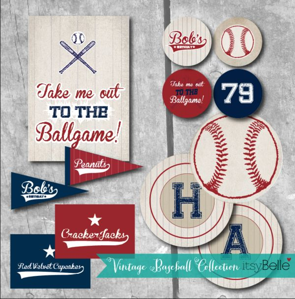 Vintage Baseball party printables (nothing is free - just pinned for ideas)