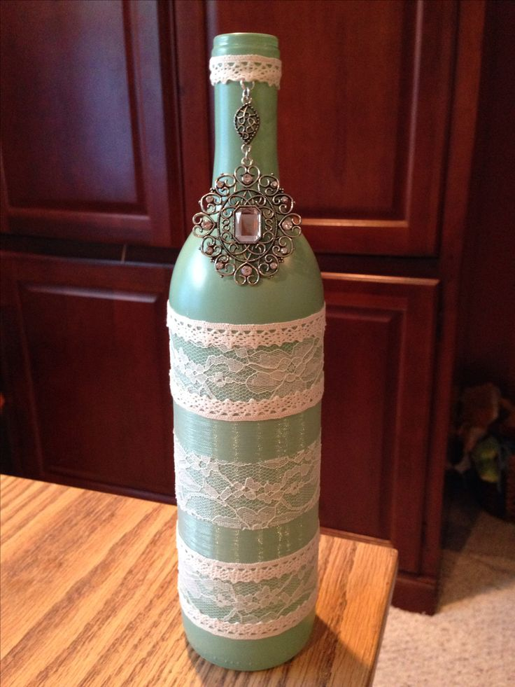Decorative wine bottle. Wine bottle crafts. Wedding decoration