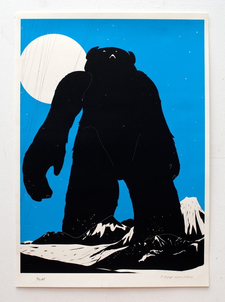 © Phil Ashcroft, 'Yeti Over Mount Fuji (cyan version)', screenprint on paper, edition of 150