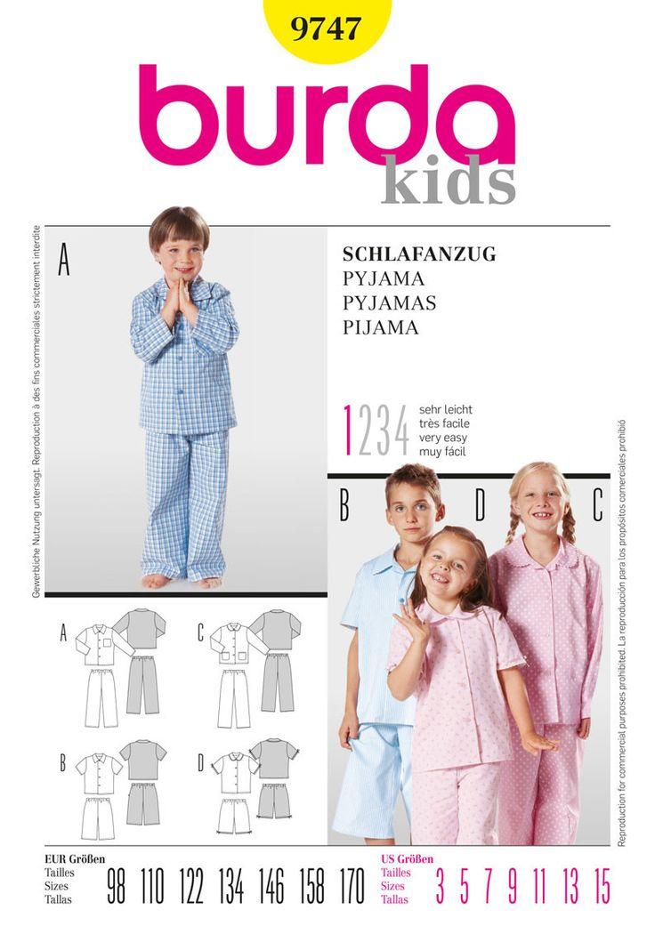 Burda Pattern: BD9747 Childrens' Pyjamas