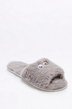 Googly Eyes Furry Grey Slippers