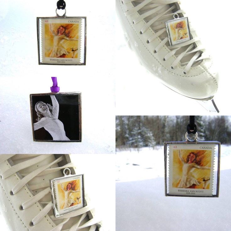 Postage stamp glass pendant or tree ornament for the figure skating enthusiast