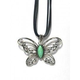 Colgante plateado de acero con forma de mariposa de rodio con piedra turquesa