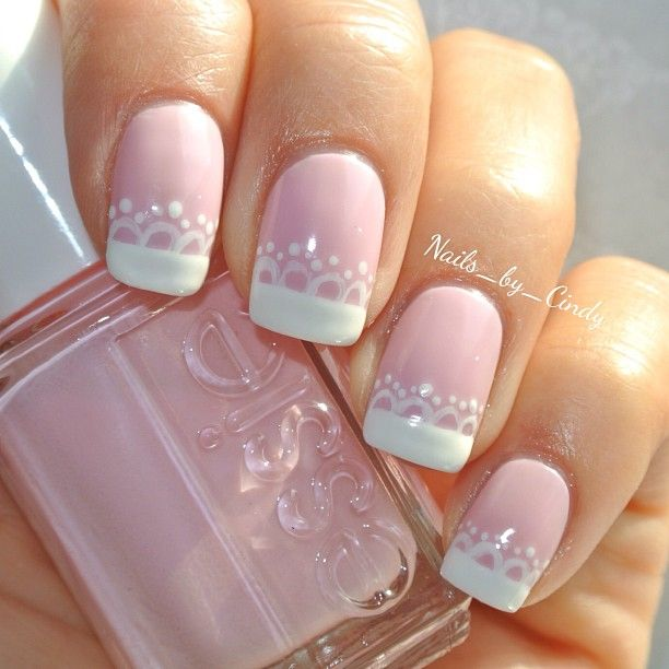Instagram media by nails_by_cindy - Lace french mani  I used essie's 'muchi muchi,' and 'blanc'.