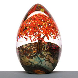 """Autumn egg"" by Cathy Richardson ~ one of her seasonal variations on flowering tree theme. All have three tree trunks spaced around the perimeter of each weight."