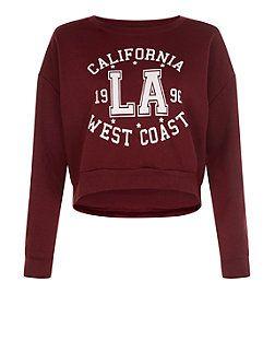 Teens Burgundy California West Coast Sweatshirt | New Look